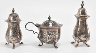 THREE EDWARDIAN SILVER HALLMARKED TABLE CRUETS