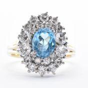 18CT GOLD TOPAZ & DIAMOND CLUSTER RING