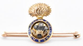 15CT GOLD ROYAL WELSH FUSILIERS BROOCH