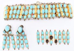 TURQUOISE GOLD & SILVER JEWELLERY SUITE
