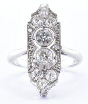 18CT WHITE GOLD & DIAMOND PANEL RING