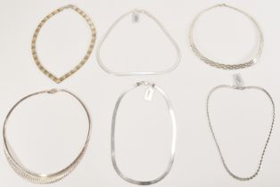 COLLECTION OF SILVER FLAT SNAKE CHAIN NECKLACES