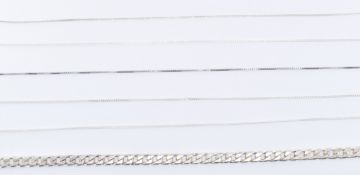 COLLECTION OF SILVER CHAIN NECKLACES