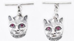 PAIR OF SILVER & RUBY CAT CUFFLINKS