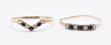 TWO HALLMARKED 9CT GOLD CZ & BLACK STONE RINGS