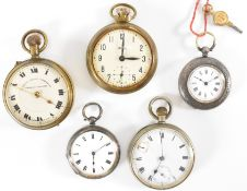 GROUP OF SILVER & OTHER POCKET WATCHES