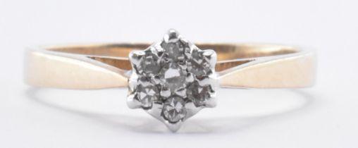HALLMARKED 9CT GOLD DIAMOND CLUSTER RING