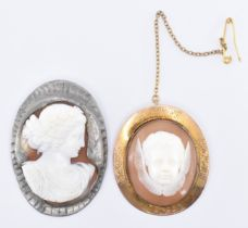 TWO VICTORIAN CARVED CONCH SHELL CAMEO BROOCHES