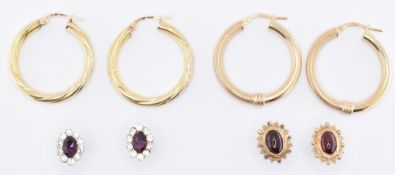 FOUR PAIRS OF 9CT GOLD EARRINGS