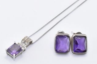 9CT WHITE GOLD & CZ PENDANT WITH AMETHYST EARRINGS