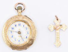 VICTORIAN 18CT GOLD POCKET WATCH & CRUCIFIX PENDANT
