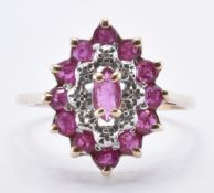9CT GOLD CLUSTER RING WITH RUBIES AND DIAMONDS