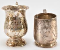 TWO 20TH CENTURY SILVER CHRISTENING CUPS