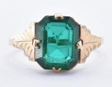 VINTAGE 9CT GOLD & GREEN STONE RING