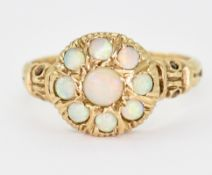 HALLMARKED 9CT GOLD & OPAL CLUSTER RING