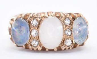 HALLMARKED 9CT GOLD & OPAL DOUBLET THREE STONE RING