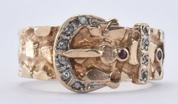 9CT GOLD DIAMOND & RUBY BUCKLE RING