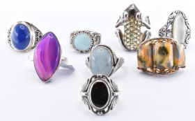 EIGHT SILVER STONE SET RINGS