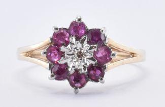 HALLMARKED 9CT RUBY & DIAMOND CLUSTER RING