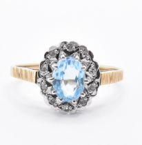 HALLMARKED 9CT GOLD TOPAZ & DIAMOND RING
