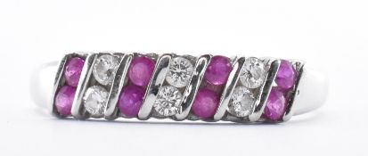 9CT WHITE GOLD RUBY & DIAMOND RING