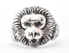 SILVER & COLOURED STONE LION MASK RING