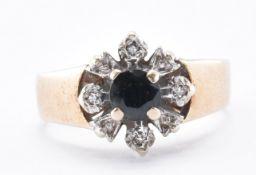 HALLMARKED 9CT GOLD SAPPHIRE & DIAMOND RING