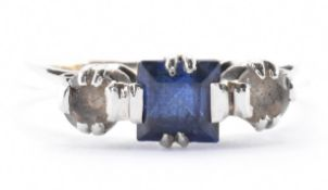 9CT GOLD SYNTHETIC SAPPHIRE & WHITE STONE RING