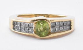 14CT GOLD PERIDOT & DIAMOND RING