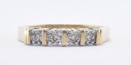 9CT GOLD AND DIAMOND FOUR STONE RING