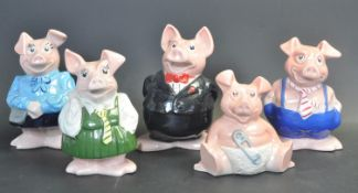 FIVE VINTAGE 20TH CENTURY NATWEST PIGS BY WADE