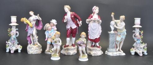 GRAOUP OF NINE PORCELAIN NEOCLASSICAL GERMAN FIGURINES