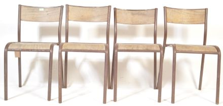 MID 20TH CENTURY FRENCH TUBULAR METAL STACKING CHAIRS