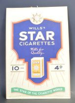 1930'S HABERDASHERY SHOP ADVERTISING SIGN FOR WILLS'S STAR CIGARETTES