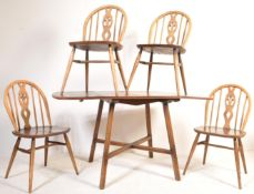1970'S DARK ELM DINING ROOM SUITE BY ERCOL FURNITURE