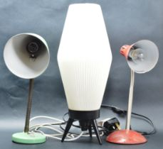 COLLECTION OF THREE RETRO VINTAGE 20TH CENTURY LAMPS