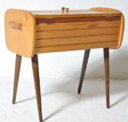 MID CENTURY BEECH WOOD SEWING BOX LADIES WORKBOX