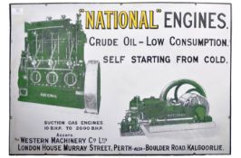 """""""NATIONAL"""" ENGINES - EARLY 20TH ADVERTISING ENAMEL SIGN"""