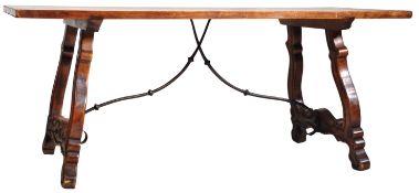 19TH CENTURY SPANISH WALNUT & WROUGHT IRON REFECTORY TABLE