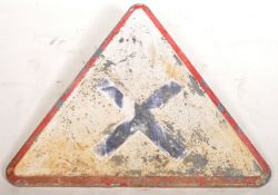 VINTAGE FRENCH CAST IRON WARNING ROAD SIGN