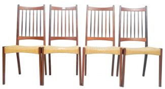 NILS JONSSON FOR HUGO TROEDS - SET OF FOUR TEAK AND CORD DINING CHAIRS