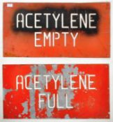 PAIR OF MID 20TH CENTURY INDUSTRIAL FACTORY ACETYLENE FULL AND EMPTY SIGNS