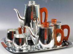 RETRO VINTAGE MID 20TH CENTURY SONA STAINLESS STEEL TEA SET
