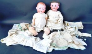 TWO EARLY 20TH CENTURY GERMAN ARMAND MARSEILLE BISQUE HEADED DOLLS