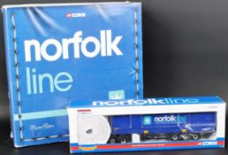 TWO CORGI 1/50 SCALE BOXED DIECAST ' NORFOLK LINE ' MODEL TRUCKS