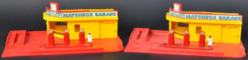 TWO ORIGINAL VINTAGE LESNEY MADE MATCHBOX GARAGES