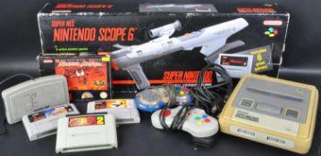 ORIGINAL SUPER NINTENDO GAMES CONSOLE, SUPER SCOPE 6 AND GAMES