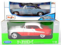 TWO 1/18 SCALE BOXED DIECAST MODEL CARS