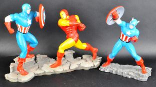 TWO ENESCO MARVEL CAPTAIN AMERICA HAND PAINTED RESIN FIGURES