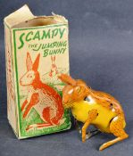 1940S VINTAGE CLOCKWORK TINPLATE TOY ' SCAMPY THE JUMPING BUNNY '
